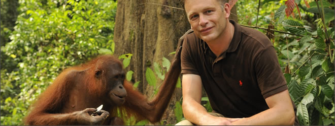 Presenter Chris Packham and Orang-utan. Borneo, Malaysia. Photographer: Adam White. Copyright: Adam White. Used by kind permission of the BBC.