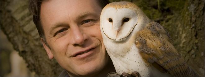 Chris Packham with Owl